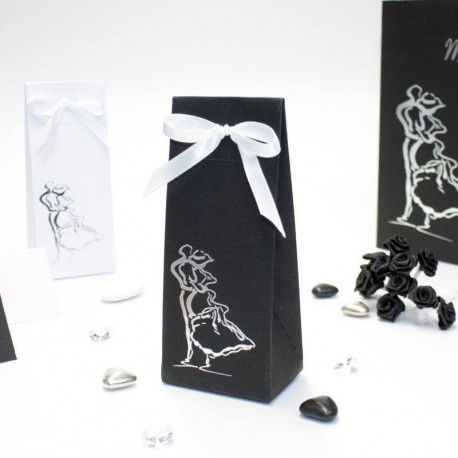 Pochette à dragées thème couple enlacé noir