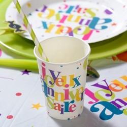 10 gobelets multicolore anniversaire
