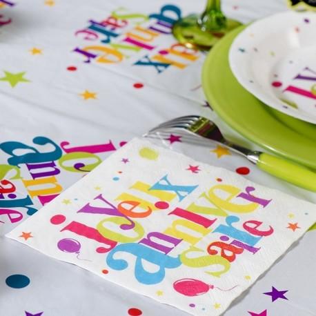 20 serviettes de table anniversaire multicolore