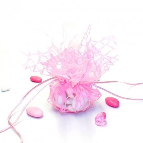 Tulle à dragées effet dentelle rose avec attache