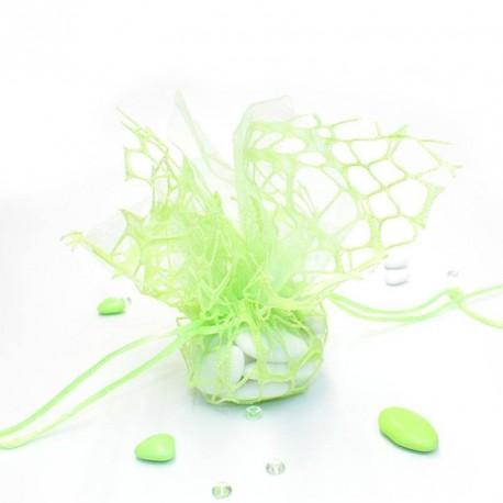 Tulle à dragées Léana vert avec attache
